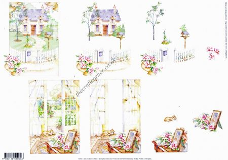 Cat Asleep On A Summer's Day & A Summer Cottage New Home 3d Decoupage Sheet